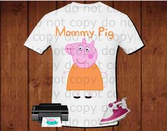 Mommy pig, Peppa pig iron on transfer, Peppa pig birthday party shirt iron on transfer, printable file instant download
