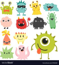 Funny cartoon monster cute alien character vector image on VectorStock Cute Monsters Drawings, Alien Drawings, Funny Monsters, Cartoon Monsters, Cartoon Drawings, Monster Drawing, Monster Art, Image Monster, Cute Cartoon