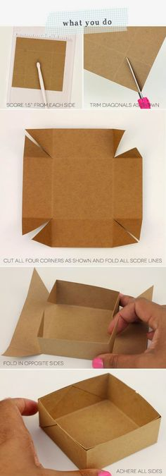 DIY Paper Box Tutorial – Simplest Box Ever - 14 Useful yet Unique DIY Gift Wrapping Tutorials You Should LearnDIY your Christmas gifts this year with GLAMULET. Craft Gifts, Diy Gifts, Diy Gift Box, Gift Wrap Diy, Diy And Crafts, Arts And Crafts, Foam Crafts, Papier Diy, Paper Crafting