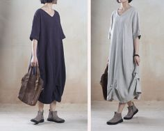 High quality linen solid color long loose maxi dress V neck simple style Plus Size XXL