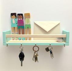 DIY key & letter holder using BEKVAM spice rack from IKEA, Robin's Egg…