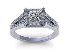 2.5Ct,14K White Gold Antique Style Princess Cut Man Made Diamond Engagement Ring #Solitaire