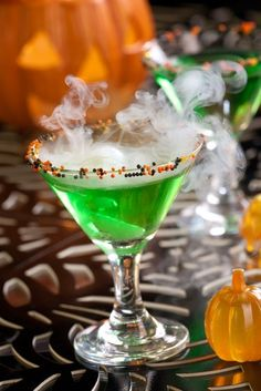 Jeanne Benedict, who shared chilly Halloween treat recipes for your party, including Appletini Brain Freeze and Candy Corn Baileys Cocktail Push Up Recipe.