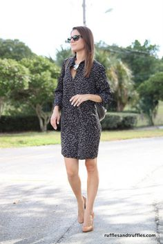 My style: a sassy LOFT shirt dress and a statement necklace from Ann Taylor