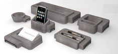 Concrete desk organisers by UMAMY