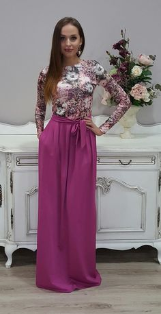 Dusky Pink Floral Maxi Dress Long Sleeves Pockets