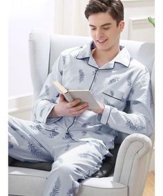 crazy-shop Male Pajama Set Cotton Pajama Man Suit Turn-Down Collar Solid Pyjama Men Full Sleeve Striped Pijama Men XXXL,Men Pyjama Gray,XL