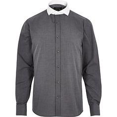 Grey wing collar slim shirt $20.00