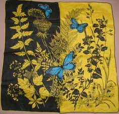 Yellow and black hankie with blue butterflies