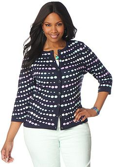 This pretty plus-size polka-dot cardigan is great for weekends. CJBanks.com has tons of casual weekend wear in plus sizes.