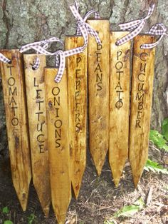 Handmade Garden Stakes /  Rustic Primitive  Wooden Garden Markers/ Made to Order. $28.00, via Etsy.