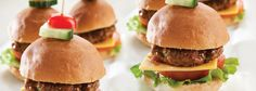 An instant favourite with kids and adults alike, the mini burger is an ideal lunchbox treat, picnic staple or anytime snack. Mini Burgers, Beef Burgers, Hamburger, Picnic, Lunch Box, Treats, Snacks, Ethnic Recipes, Food