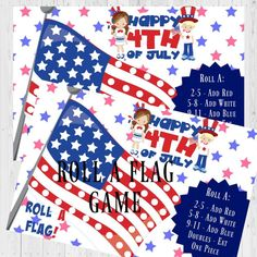 This is our Roll A Flag Game for Kids. If you are looking for Fourth of July Party Ideas or Fourth of July Games for kids then how about our Fourth of July Activities for kids, a Flag Game. Valentine's Day Party Games, Halloween Party Games, Christmas Party Games, Kid Party Favors, Birthday Party Games, Halloween Ideas, Christmas Holidays, Holiday Invitations, Halloween Invitations