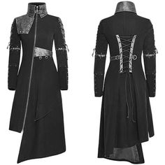 Women Black Asymmetrical Gothic Vampire Military Trench Coats SKU-11401033