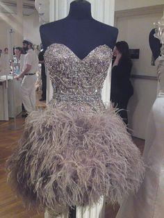 ostrich wedding dress
