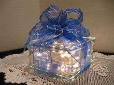 Silver & Blue Plaid Ribbon on clear glass block by Originalsbysuej, $20.00