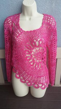 (4) Name: 'Crocheting : Circle Flower Tunic