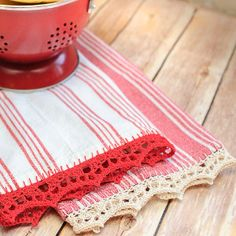 Time for Tea Towels Crochet Edging- free tutorial. a great way to add some crochet to your boring kitchen towels!