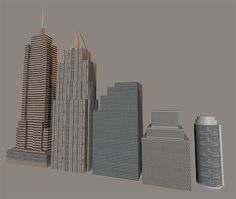 3D Download - The 3D low polygon skyscraper models set for Poser & DAZ Studio contains five skyscrapers that are perfect for background fillers or a city skyline background. They load quick and render fast.
