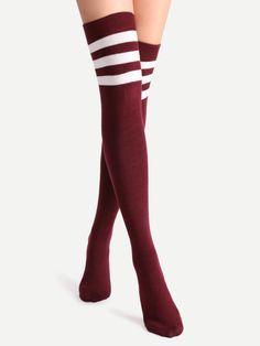 Burgundy Varsity Stripe Over The Knee Socks
