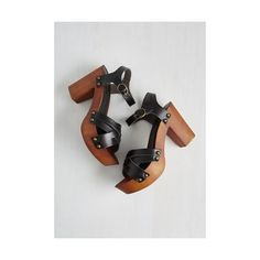 Boho What's Up, Dock? Heel ($16) ❤ liked on Polyvore featuring shoes, sandals, heels, black, other heel, black heeled shoes, vegan shoes, wooden heel shoes, boho sandals and black shoes