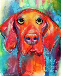 Colorful Watercolor Vizsla dog portrait painting by Svetlana Novikova (all rights reserved). It comes on prints, tote bags, shower curtains, phone cases and more. I am accepting custom pet portrait commissions from your favorite photos. Rat Terrier Dogs, Skyline Painting, Dog Artist, Dog Artwork, Dog Paintings, Colorful Paintings, Dog Portraits, Vizsla Dog, Canvas Art