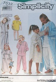 Simplicity 7032 Essentials - Girls Nightgown, Baby Doll Pajamas & Robe 3-6X