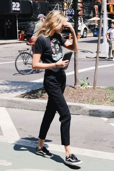 Black vintage graphic t-shirt, cropped black trousers and Vans | @bingbangnyc