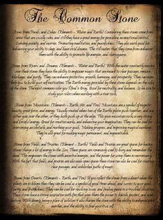 "Book of Shadows:  ""The Common Stone - Book of Shadows,"" by CarlaVK, at deviantART."