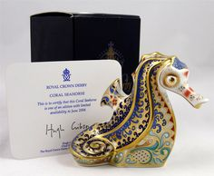 Ed Royal Crown Derby Figurine Paperweight Coral Seahorse Royal Doulton   eBay