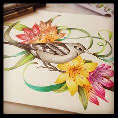 watercolor by @marinabarbato #watercolor #copicmarkers #aquarela #birdillustration #surfacedesign #designdesuperficie #printdesigner #estampas #estampafloral #porummundomaisestampado #brasilidadeestampada #tropicalprint #marinabarbato