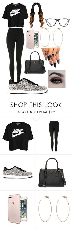 """""""Untitled #156"""" by liyahismee on Polyvore featuring NIKE, Topshop, Prada, Diane Kordas, BHCosmetics and Ray-Ban"""