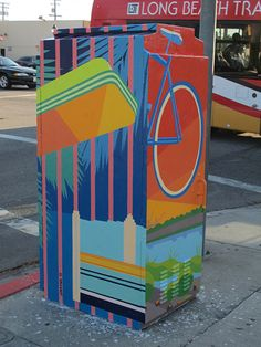 wrigley village traffic light utility box murals at 20th & pacific by Ioana Urma