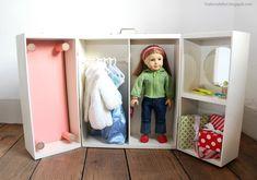 Doll Closet - Folding 18 Inch Doll Furniture Storage Trunk with Bed Doll Storage, Baby Storage, Storage Trunk, Storage Ideas, Closet Storage, Baby Furniture, Doll Furniture, Furniture Storage, Children Furniture