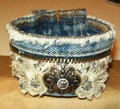 Embellished Blue Jean, Denim, Zipper & Lace Cuff Bracelet.