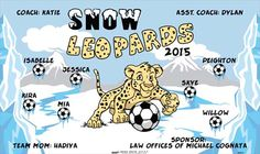 Leopards-Snow-46803  digitally printed vinyl soccer sports team banner. Made in the USA and shipped fast by BannersUSA. www.bannersusa.com