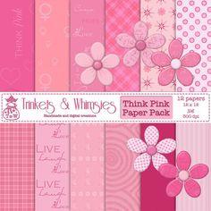 Think Pink Breast Cancer Awareness Digital Scrapbook by TnWScraps