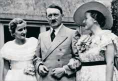Adolf Hitler with Winifred Wagner's two daughters; Verna (left) and Friedelind Wagner (right) in 1938