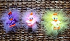 Easter Chick Hair Clip with Maribou Puff  3D by FromMommywithLuv, $2.00