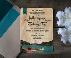 Vintage Postcard Inspired Real Wood Wedding Invitations Portland Oregon