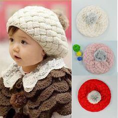 Hot Cute Winter Knit Crochet Beanie Hat For Baby Kids Girls Gift 3 Colors beige Online Shopping Cotton Crochet, Crochet Baby, Knit Crochet, Knitted Beret, Crochet Beanie Hat, Cute Beanies, Cute Hats, Baby Winter Hats, Baby Hats