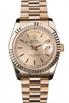 Rolex Day-Date 18k yellow gold plated stainless steel case