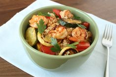 <b>The key to a brown rice bowl that's not sad and diet-y?</b> Shrimp, veggies, a little bit of salt and a lot of butter.