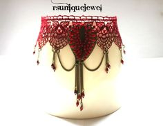 Gothic Choker Bugundy Red Lace Burgundy Red by rsuniquejewel