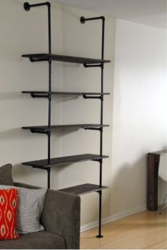 Water Pipe Book Shelfs - done in white and bare wood would be perfect for beachy feel