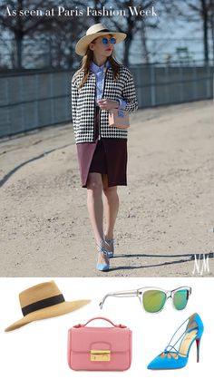 Mix, don't match. Print, pattern and texture play well together when accessorized with a solid square handbag, brightly colored pumps and a wide brim fedora. Pops of bright blue tie the look together, and the Louboutin suede pumps complete the outfit!