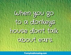 Show Respect - When you go  to a donkeys house don't talk  about ears.