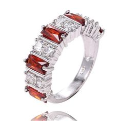 Gorgeous .925 Sterling Silver Red and White Topaz Band Ring Size 7 NEW FREE S&H #Band