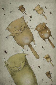 gatos voladores, ilustración de Aleks Klepnev