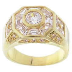 Simon Frank 14k Gold Overlay 3.78 Equivalent Diamond Weight Men's Octagon CZ Ring (Yellow Gold Overlay Size 12)